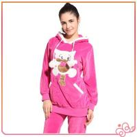 Quality 2014 latest design cute pink velvet women brand animal design design women pyjam for sale