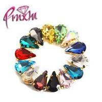 Buy cheap Mix Colors 8x13mm Teardrop Shaped Gold Claw Sew on Rhinestones Four Holes Flatback Sewing Dress Patt from Wholesalers