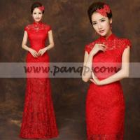 Buy cheap Floor length red lace checonsam Chinese mandarin collar bridal wedding dress from Wholesalers