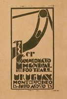 Quality Rare Vintage Poster Of World Champion Soccer Game Urugay Montevideo Fifa C. 1930 for sale