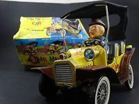 Quality 2 Vintage 1961 Hubley Mr Magoo Japan Tin Litho Battery Friction Car Toy Box Lot for sale