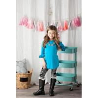 3\4 Sleeve Double Ruffle Blue Tops