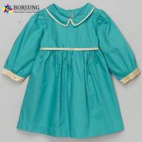 China Green Cotton Long Sleeve Gathering Little Girl Dresses on sale