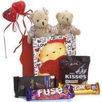 Quality Our Hearts - Couple Teddy Chocolates Bag for sale