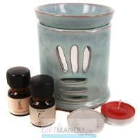 Quality Ceramic Oil Diffuser Set by Wild Earth (Diffuser, Essential Oil and Candles) for sale