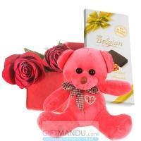 Quality Cute Teddy Bear with Red Roses Box and Chocolate Bar for sale