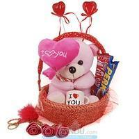 Quality Valentine Gift - Heart Teddy, Mini Love Cup, Chocolates, Rose Keyring for sale