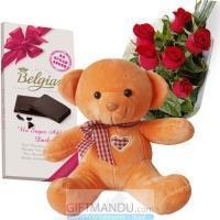 Quality Belgian Chocolate Bar, Cute Teddy Bear and Roses - Belgian for sale