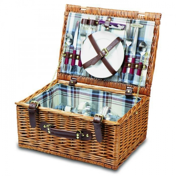 China Picnic Time Bristol Two Person Willow Picnic Basket