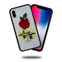 Quality CTUNES Rose Printing Soft Flexible TPU Black Frame Hard PC Back Plate Translucent Case for iPhone X for sale