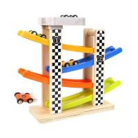 TOP BRIGHT Toddler Toys For 1 2 Year Old Boy Gifts Wooden Race Track Car Ramp Racer With 4 Mini Cars