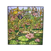 STAINED GLASS WINDOW SL032-Lotus Stained Glass Panel