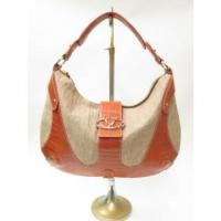 China Valentino Bag Catch Croc Embossed Leather and Straw Large Hobo Beige and Coral on sale