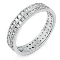 China Sterling Silver Double Lines Round CZ Eternity Ring on sale