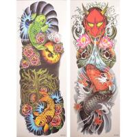 Factory price koi and devil full arm sleeve tattoo