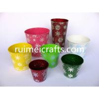 Quality Christmas with Snow Round Metal Flower Pot for sale